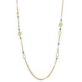 Peace and Fashion Necklace with Tourquoise CZ Linked with Gold Peace Charms in Gold Tone