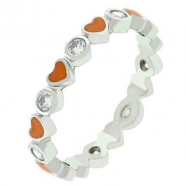 Orange Hearts Enamel Eternity Band