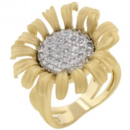 Brushed Gold Flower Ring