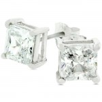 3ct 7mm Princess Cut CZ Sterling Silver Stud Earrings